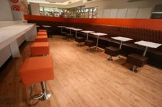 Armadale Shopping Centre | Furniture Options. Custom booth seating with fixed stools and tables for food court.