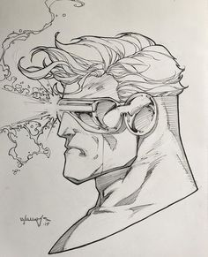 Cyclops by Scott Williams Cool Sketches, Art Drawings Sketches, Cool Drawings, Arte Dc Comics, Marvel Comics Art, Comic Book Drawing, Comic Books Art, Iron Man Drawing, Marvel Drawings