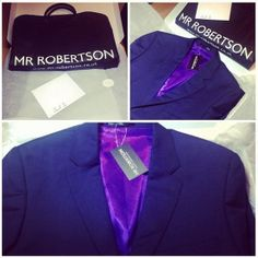 Navy two peice with purple silk lining