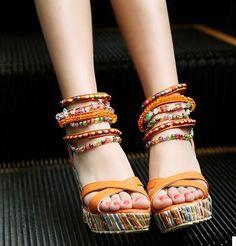 Women new fashion spring Summer trend sandals bohemia national 9cm wedges high heels open toe platform zipper shoes