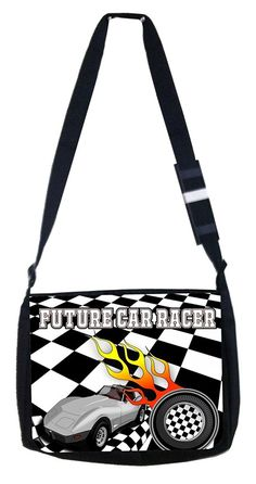 Future car racer car and tire Rosie Parker Inc. TM Medium Sized Messenger Bag 11.75' x 15.5' ** Click on the image for additional details.