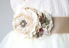Vintage Style Wedding Dress Sash - Ivory, Cream and Burgundy Flowers