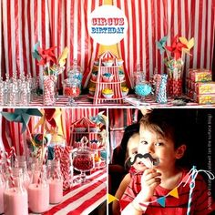 circus birthday! this uses the striped tablecloth and cupcake display from oriental trading.com