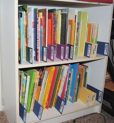 Homeschool Organization Books-I like the cardboard & labels, much easier than plain lables. (One day when we have room for bookshelves again.)