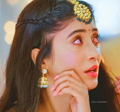 Image may contain: one or more people and closeup Sad Girl Photography, Couple Photography Poses, Beauty Photography, Stylish Girl Images, Stylish Girl Pic, Short Hair Accessories, Shivangi Joshi Instagram, Girls School Hairstyles, Diwali Outfits