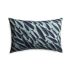 Shop Fish Outdoor Lumbar Pillow. Our teeming shoal of blue fish refreshes a favorite summer theme with modern graphics and cool color. Made of spun polyester, the lumbar pillow mixes effortlessly with our solid pillows and cushions.