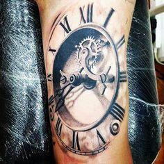 Clock tattoo, time peace