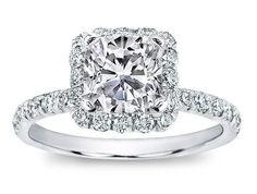 Engagement Ring - Cushion Diamond Halo Engagement Ring Diamond Band in 14K White Gold - ES871CUWG $1490