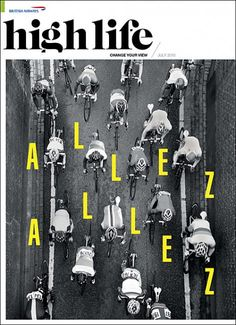 I like the way this is designed with the aerial  view of the bikers that makes it look systematic, the black and white, the bright yellow letters popping out in between the bikers - Kawal