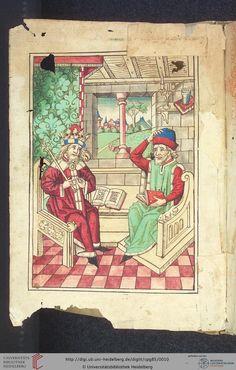 Cod. Pal. germ. 85: Antonius von Pforr: Buch der Beispiele (Schwaben, um 1480/1490), Fol 1v Titelblatt, Swabia