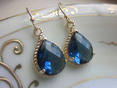 Sapphire Earrings Navy Blue Teardrop Gold - Bridesmaid Earrings - Bridal Earrings - Wedding Earrings. $30.00, via Etsy.