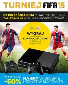 Już jutro wielki TURNIEJ FIFA 15 w NEONET   Dodatkowo tylko w tym dniu promocja -50% na wszystkie gry video w salonie NEONET.  Po zakupach wymień paragon na BONY ZAKUPOWE  http://galeria.skytower.pl/bony-zakupowe.html