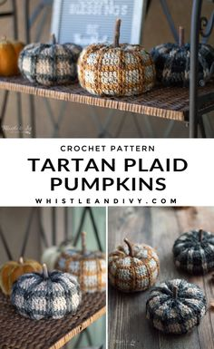 Crochet Tartan Pumpkin Crochet Pattern: Add some rustic detail for your fall or Halloween decor with these cute crochet tartan plaid pumpkins. Easily customize the size to make them perfect for your space! #crochetpumpkin #crochetplaidpumpkin #crochettartanpumpkins #crochettartanplaidpumpkins #rusticrochet #falldecor #fallcrochetpatterns #thanksgivingcrochet #halloweencrochet Crochet Pumpkin Pattern, Plaid Crochet, Cute Crochet, Crochet Fall Decor, Crochet Home, Thanksgiving Crochet, Holiday Crochet, Modern Crochet Patterns, Fall Patterns