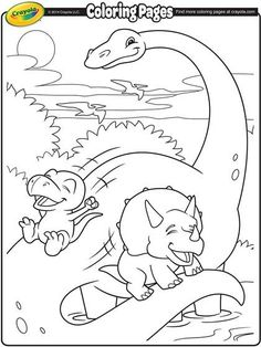 These dino friends are having a blast! Give them some color and join the fun.