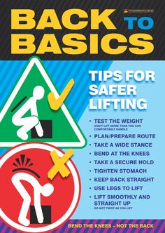 Workplace Health Poster with Basic Back Safety Tips when lifting Available as in Australia and NZ printed in Aus and in the USA and Canada printed in. Safety Games, Safety Talk, Eye Safety, Health And Safety Poster, Safety Posters, Pcos, Past Exam Papers, Workplace Safety Tips, Safety Slogans