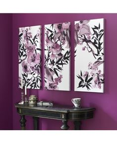 Kyoto Cherry Blossom Canvas Art - 3 piece set can be hung vertically or looks great horizontally too. Add jewels embellishments make this a unique Gem. -Not big on the wall color, but the pictures are pretty cool.