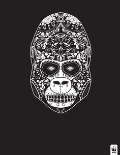 day of the dead - gorilla - WWF // animal, illustration, animal illustrations, design, graphic design Sugar Skull Tattoos, Sugar Skulls, Gorilla Tattoo, Day Of The Dead Skull, Guerilla Marketing, Halloween Prints, Endangered Species, Print Ads, Blackwork