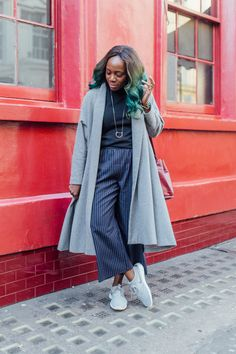 90s pinstripe culottes with Nikes
