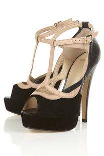 SLINK Black Suede Faux Snakeskin T-bar Cut Out Platform Sandals - High Heels - Heels - Shoes - Topshop USA