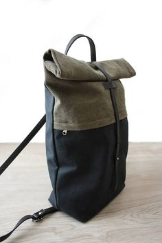 Backpack backpack purse leather and canvas backpack