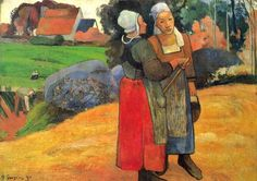 Paul Gauguin set in Bretagne-Two Breton Peasants on the Road