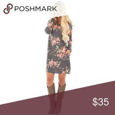 """Dress me up"" floral midi dress •long sleeve  •midi dress  •floral design  •gray background  •100% cotton Dresses Midi"