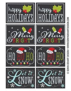 FREE Printable Chalkboard Christmas Tag Labels.  Going to print these on card stock instead of using store-bought this year!