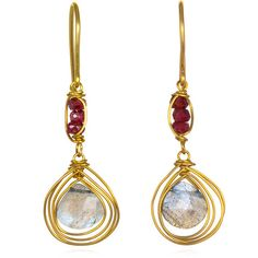 Labradorite earrings with red accent ($49) ❤ liked on Polyvore
