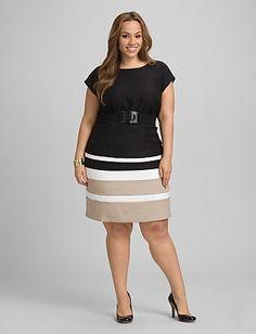 Plus Size Striped Belted Dress