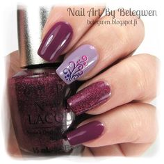 Nail Art by Belegwen: Gina Tricot Boysenberry, OPI Done Out In Deco and OPI DS Extravagance.