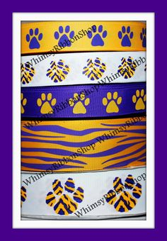 10 yards 7/8 1.5 Yellow Gold & Purple Tiger by WhimsyRibbonShop, $14.95