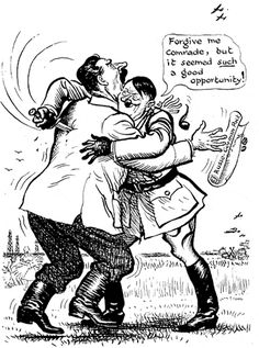 Cartoon of Hitler stabbing Stalin in the back. They signed a Non Aggression Pact in 1939 then Hitler invaded the Soviet Union in 1941.