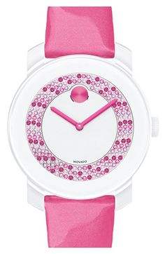 Movado 'Bold' Crystal Dial Patent Leather Strap Watch, 36mm available at #Nordstrom