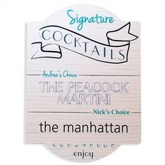 Cathy's Concepts BS50 Signature Cocktail Bar Sign #wedding