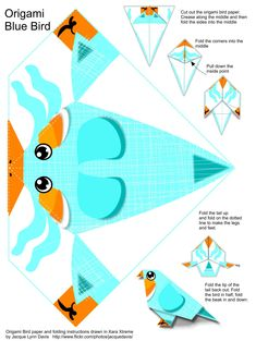 All sizes | Origami Blue Bird Instructions and Paper | Flickr - Photo Sharing!