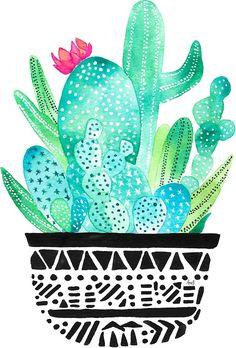 Pot Me A Cacti! by amayabrydon sticker Watercolor Cacti print Watercolor Cactus, Cactus Painting, Watercolor Art, Filofax, Cactus Art, Cactus Stickers, Small Canvas Art, Presents For Him, Art Prints