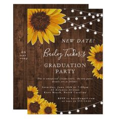 Shop Rustic Sunflower Graduation Party String Lights Invitation created by doodlelulu. Graduation Party Themes, Graduation Cap Decoration, Graduation Party Invitations, Grad Parties, Bridal Shower Invitations, Graduation Ideas, Zazzle Invitations, Invitation Cards, Invitation Ideas