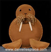 walrus paper plate craft for kids