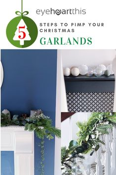 Five steps to simple but beautiful contemporary Christmas garlands, pimped with fresh pine, eucalyptus and baubles.