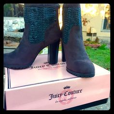"""NEW Juicy Couture grey booties, size 6.5 NEW in box. Grey booties. Back zipper. 3.25"""" heel. Juicy Couture Shoes Ankle Boots & Booties"""