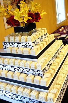 Petit Fours Wedding Cake. I would do some tiers regular cake and some petit fours. Fancy Wedding Cakes, Wedding Desserts, Wedding Cupcakes, Fancy Cakes, Mini Cakes, Cupcake Cakes, Wedding Decorations, Cup Cakes, Perfect Wedding