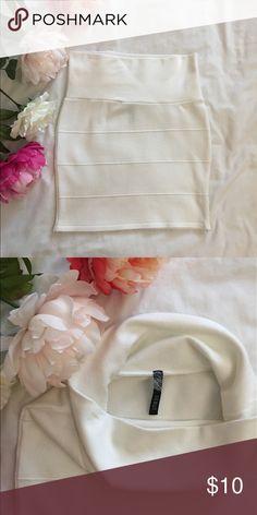 White Mini Skirt Like new condition. White bandage Mini Skirt. Size small Forever 21 Skirts Mini