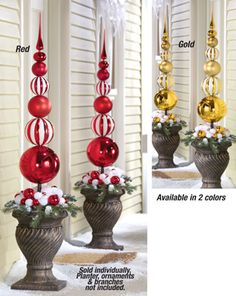 Stacked Christmas Ornament Ball Topiary Stake