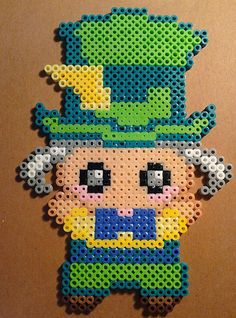 Chibi Alice In Wonderland The Mad Hatter Perler Kawaii.  Your choice of Necklace, Keychain, Pin or Magnet. $16.00, via Etsy.