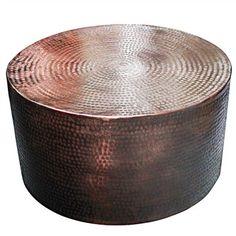 Shani Hammered Aluminium 80cm Round Coffee Table - Copper