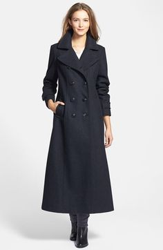 Free shipping and returns on DKNY Double Breasted Long Wool Blend Coat at Nordstrom.com. An elegantly long, tailored silhouette brings timeless polish to a double-breasted coat designed with a trench-style collar and button tab detail in back.