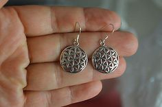 925 Sterling Silver Handmade Cut Out Circle Earrings - Oxidized Circle Earrings