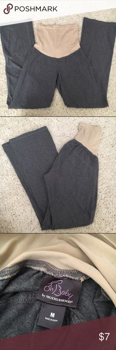 maternity yoga pants every pregnant woman needs these! comfortable and stretchy, so the band fits to your belly through each trimester. :) the band is nude, so it doesn't show through any of your shirts. Oh Baby by Motherhood Pants