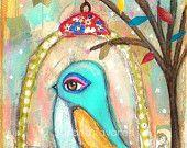 Sweet Bird - art mixed media Print 8 x 10 inch
