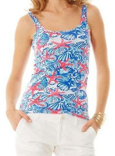 Lilly Pulitzer Tabbie Printed Tank Top in She She Shells